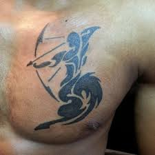 New Tribal Sagittarius Zodiac Tattoo On Chest
