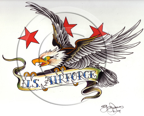 New U.S. Air Force Patriotic Tattoo Flash