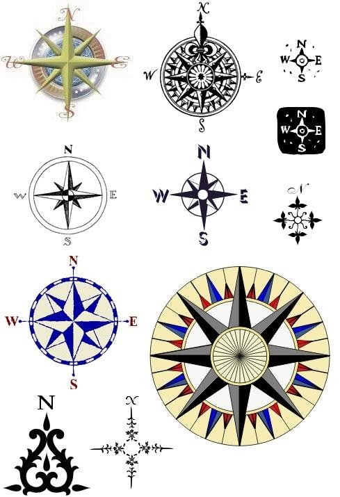New Various Nautical Compass Tattoo Designs