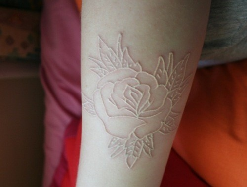 New White Ink Rose Tattoo