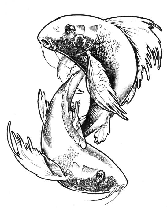 New Zodiac Pisces Fish Tattoo Stencil