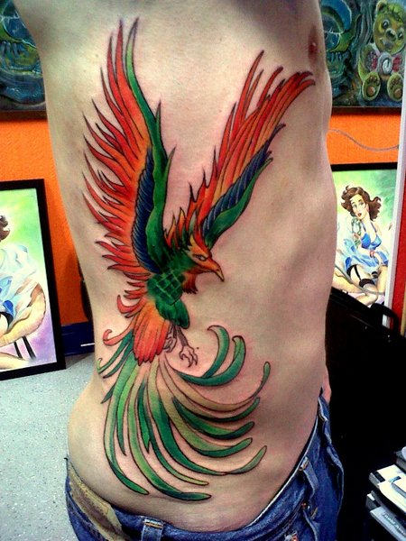 Newest Phoenix Tattoo On Ribs