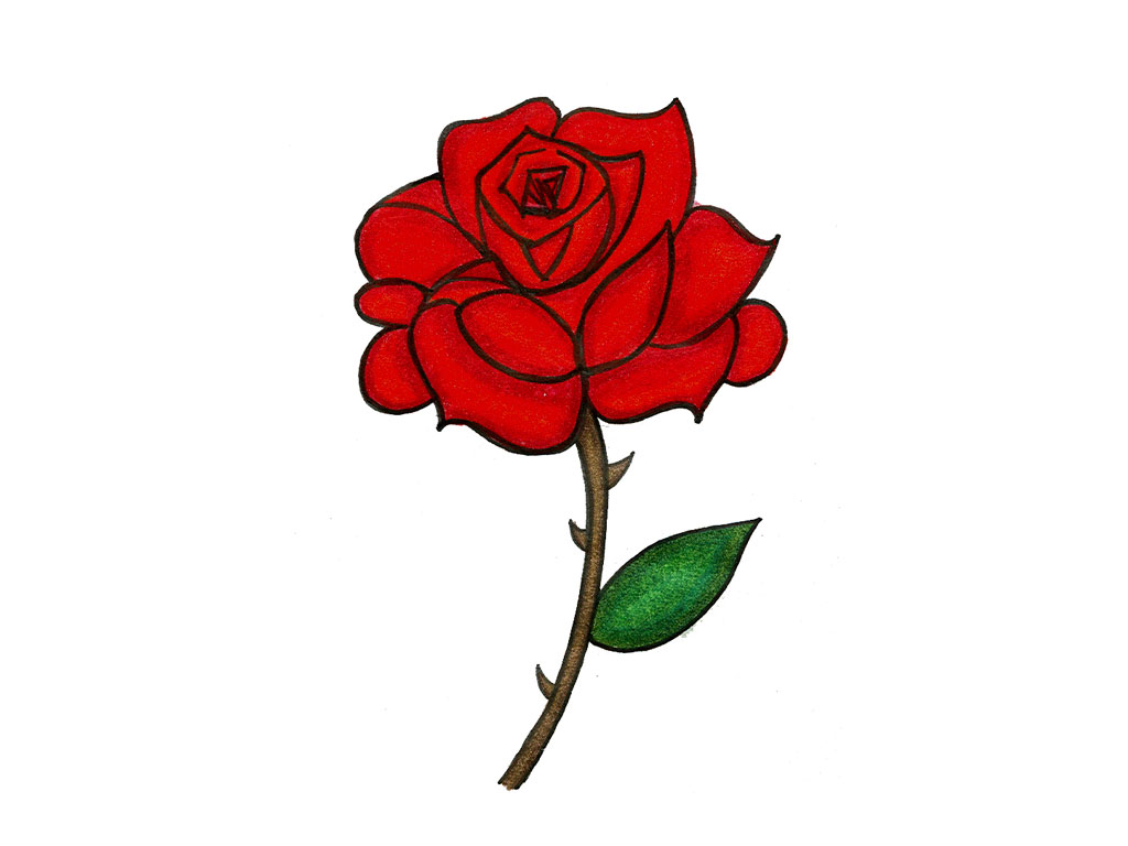 Newest Red Rose Tattoo Design