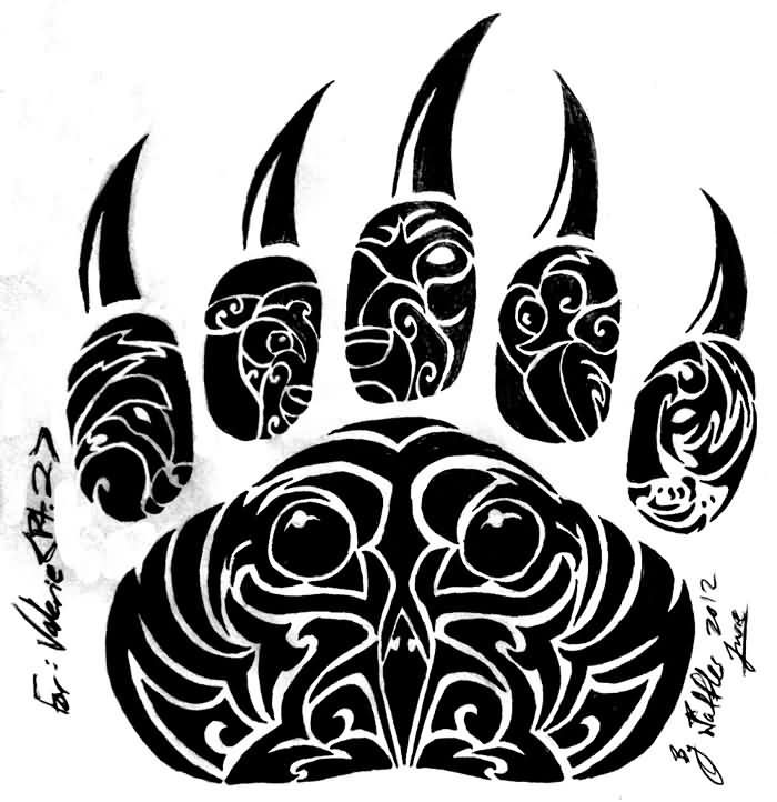 Newest Tribal Bear Claw Tattoo Design