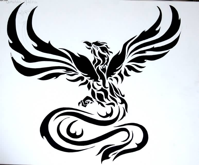 Newest Tribal Phoenix Tattoo Design