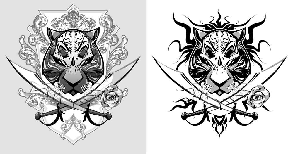 Newest Tribal Tiger Pirate Tattoo Designs