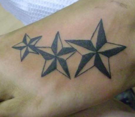 Nice Nautical Star Tattoos On The Foot