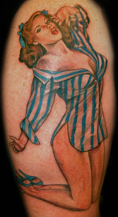 Nightgown Pin Up Girl Tattoo On Arm