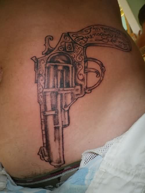 Nobody Gun Tattoo On Waist