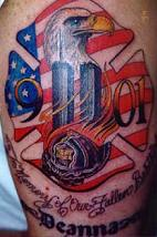 NY Eagle Patriotic Tattoo On Arm