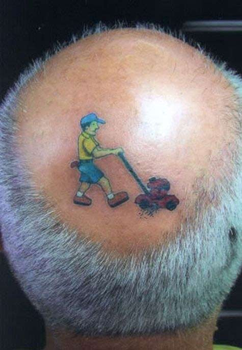 Old Bald People Tattoos