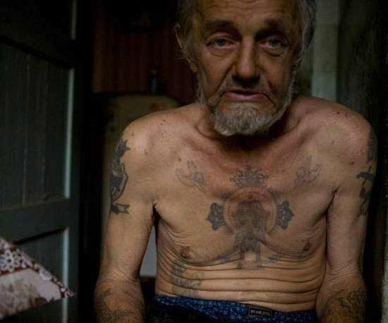 Old Criminal's Body Tattoos