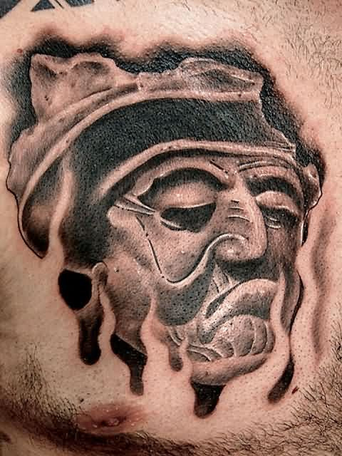 Old Goethe Head And Flames Tattoos On Chest