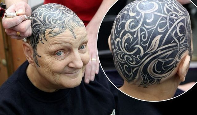 Old People Getting Head Tattoo