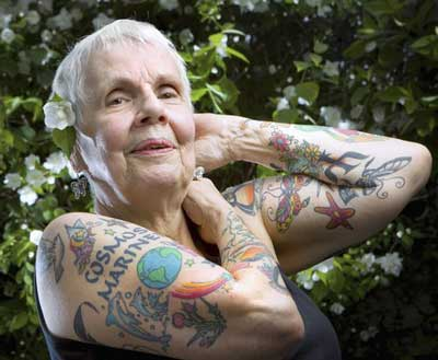 Old People With Colorful Arm Tattoos