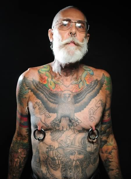 Old People With Colorful Body Tattoos