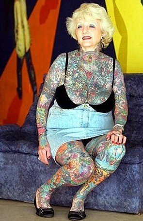 Old People With Colorful Tattoos