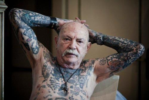 Old People With Grey Body Tattoos