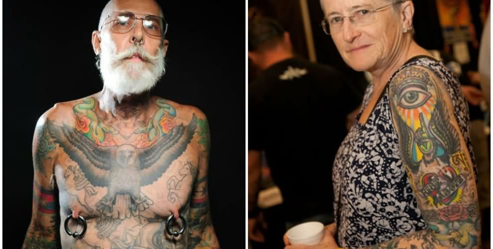 Old People's Body Tattoos Pic