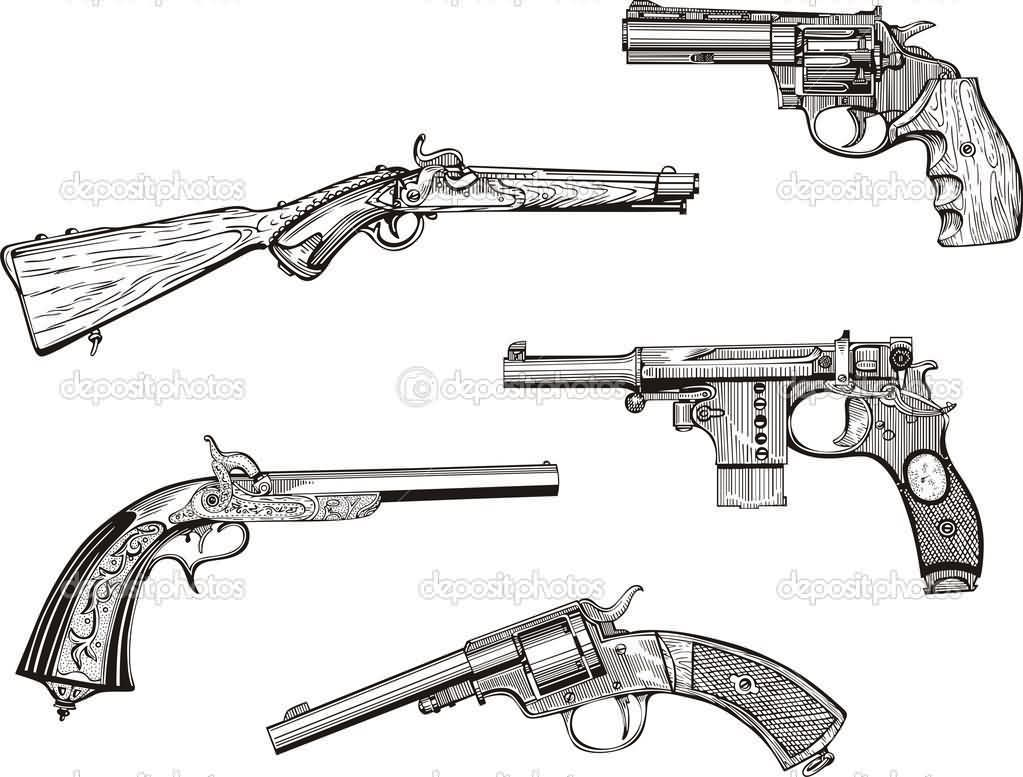 Old Revolvers And Pistols Tattoo Designs