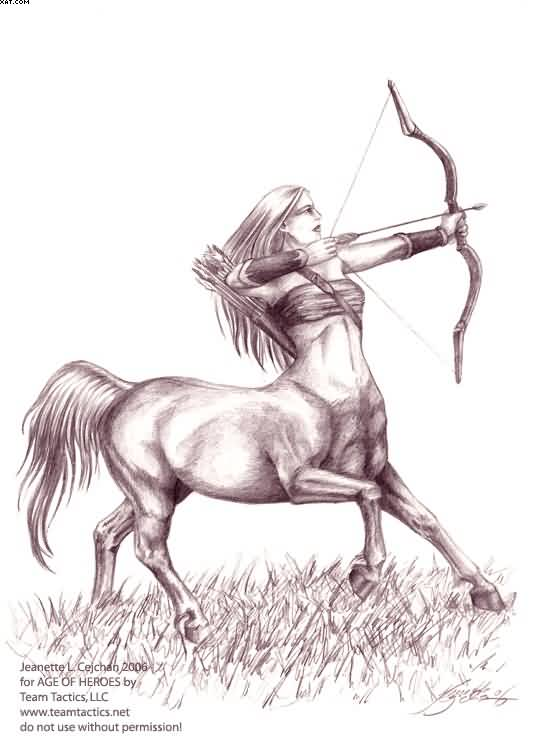 Old Sagittarius Tattoo Design