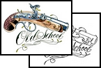 Old School Flintlock Pistol Tattoo Design