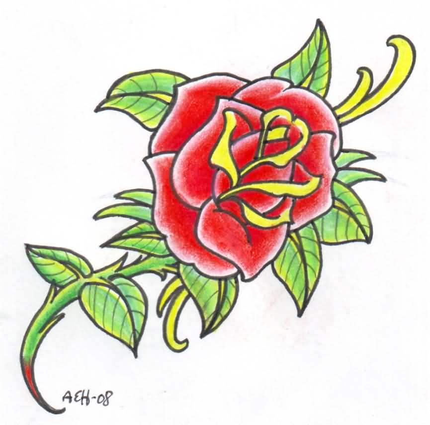 Old School Red Rose Tattoo Design