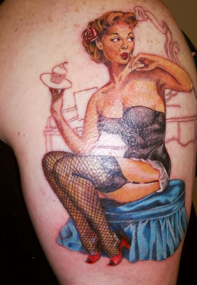 Old Style Pin Up Girl With Cupcake Tattoo