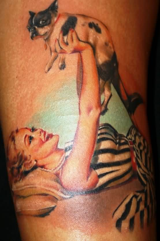 Old Style Pin Up Girl With Puppy Tattoo