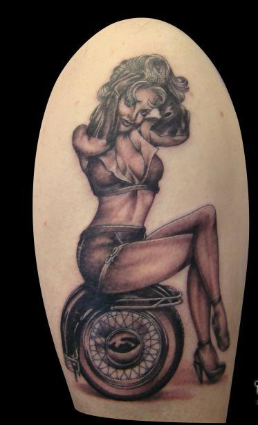 Old Style Pinup Girl Tattoo On Arm