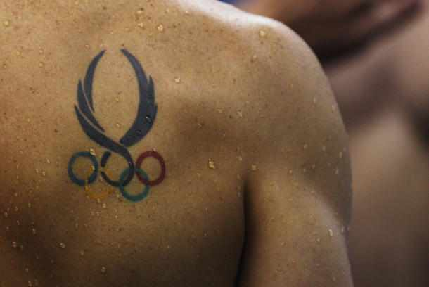 Olympic Rings Tattoo Badge Honor For Swimmers