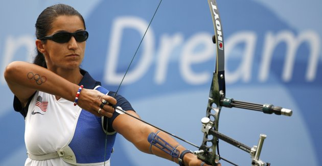 Olympic Rings Tattoo On Arm Of Archer