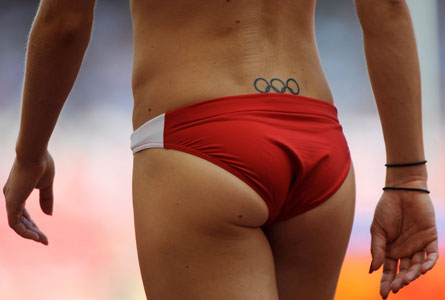 Olympic Tattoo On Back Lowerwaist