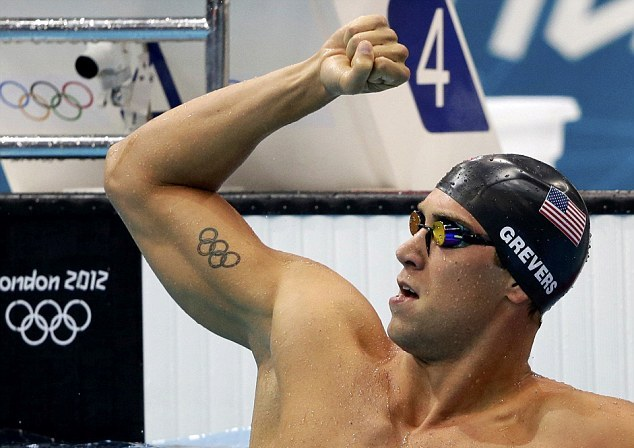 Olympic Tattoo On Muscles Of Swimmer