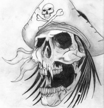 Once Again Pirate Skull Tattoo Sketch