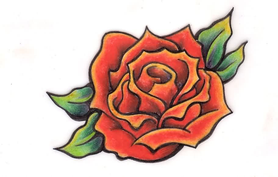 Once Again Red Rose Tattoo Stencil