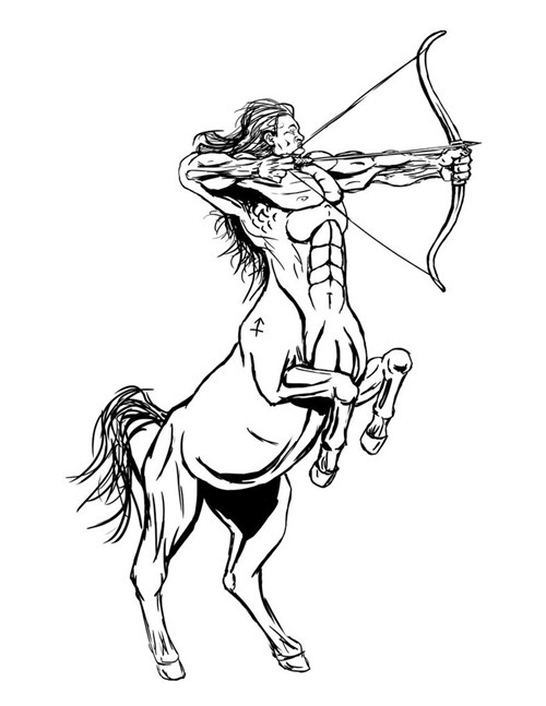 Once Again Zodiac Sagittarius Tattoo Design