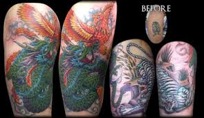 Orange Phoenix And Dragon Half Sleeve Tattoos