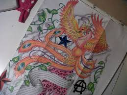 Orange Phoenix Stars And Leaves Vine Tattoo Designs