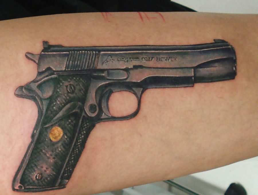 Original Black Colt Pistol Tattoo