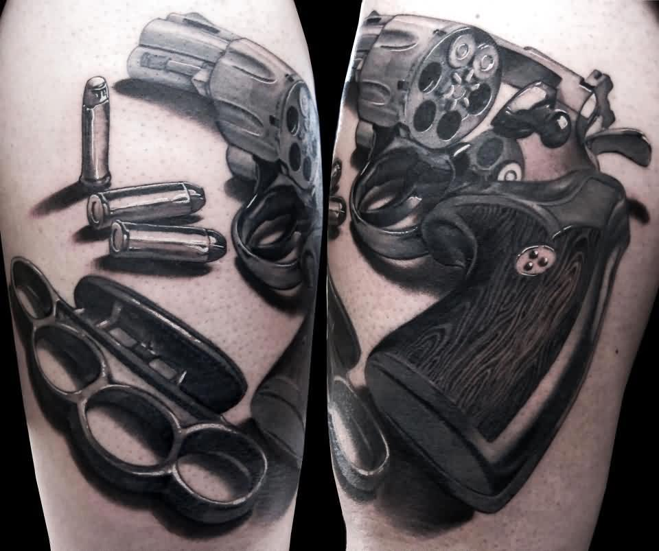 Original Black Knuckle Bullets And Pistol Tattoos