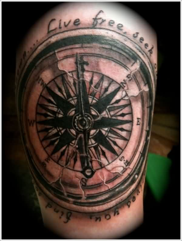 Original Cracked Nautical Compass Tattoo