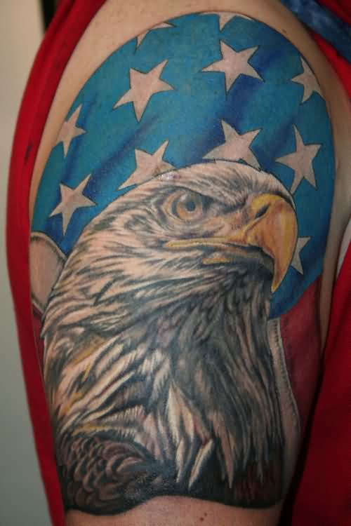 Original Eagle And US Flag Tattoos