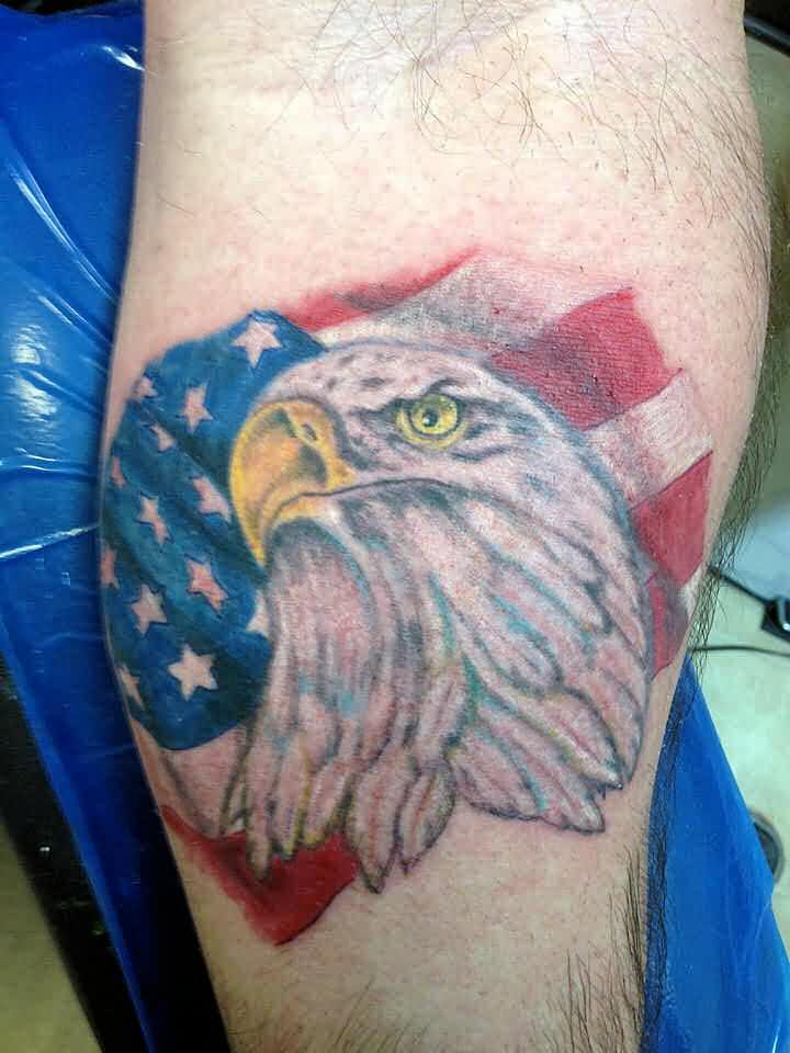 Original Eagle Head And US Flag Tattoos