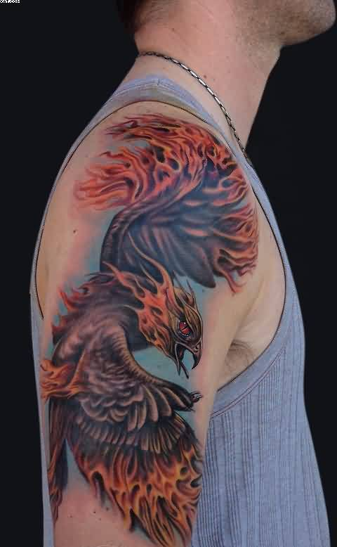Original Flaming Phoenix Tattoo For Boys