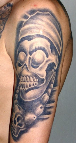 Original Goethe Skull Tattoo On Arm