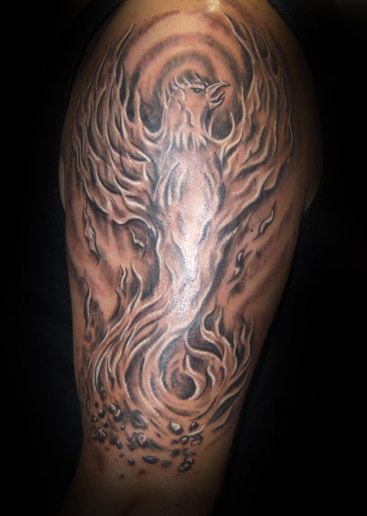 Original Grey Flaming Phoenix Tattoo On Arm