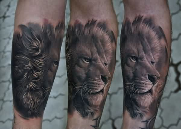 Original Grey Lion Head Tattoos