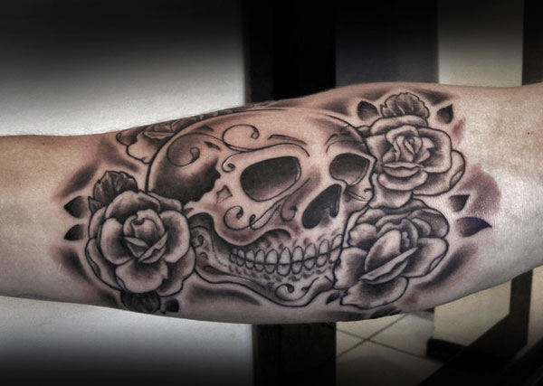 Original Grey Roses And Sugar Skull Tattoos