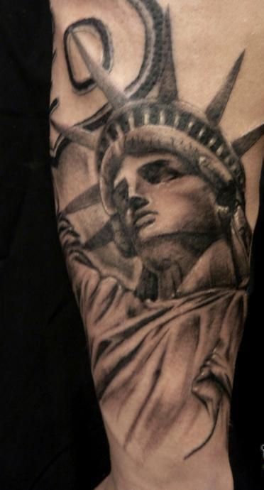 Original Grey Statue Of Liberty Tattoo